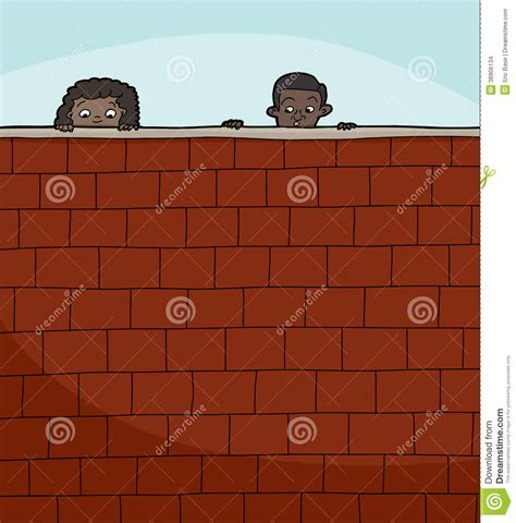 Two Kids Looking Over Wall Stock Vector - Image: 38906134