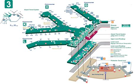 Chicago o hare airport terminal 3 map - parking - food