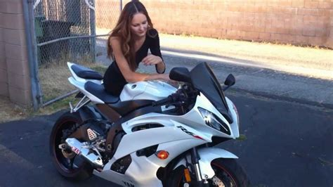 White Yamaha YZF R6 and Girl in Black Dress Modeling