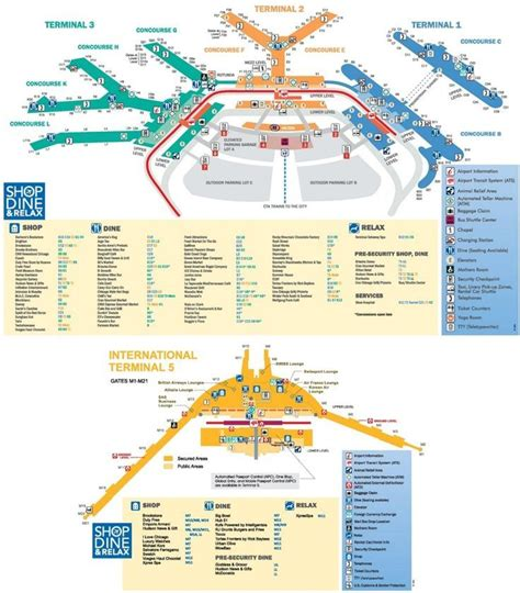 Chicago O'Hare Airport map   Airport map, Chicago o'hare