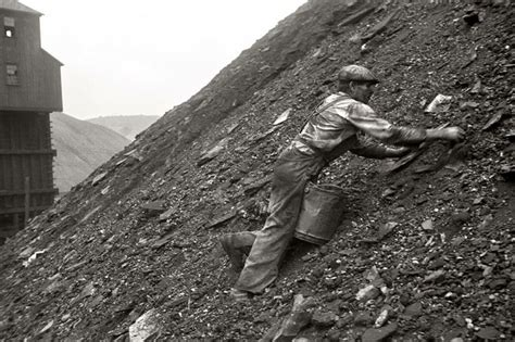 Man salvaging coal from the slag heap in Nanty Glo