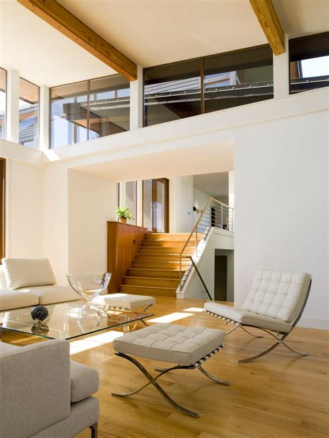 Modern Living Room With High Ceiling and Clerestory